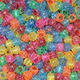 Asian Hobby Crafts Rainbow Plastic Beads, Gold (Big, 12mm, 100 Pieces)