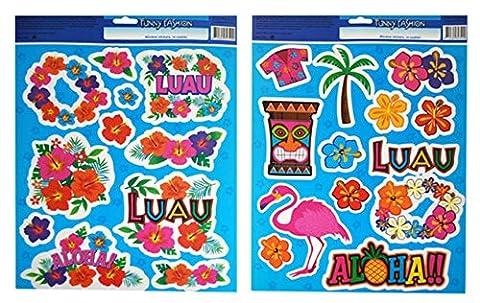 erdbeerclown - Party Dekoration Hawaii Tiki Aloha Motto Hula Bunte Sticker 2 Bögen, Mehrfarbig