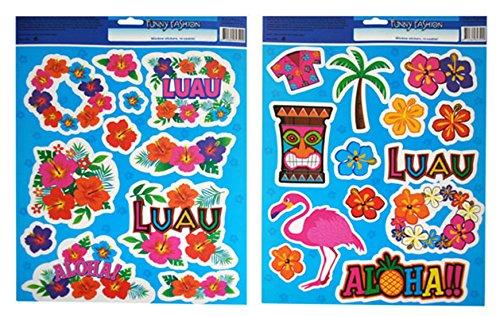 Dekoration Hawaii Tiki Aloha Motto Hula Bunte Sticker 2 Bögen, Mehrfarbig (Kuba-kostüm Für Kinder)