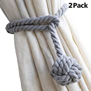 Curtain Tiebacks 2 Pack, Handmade Natural Cotton Rope and Round Finial Drapery Tie Bakes, Decorative Holdbacks Holders for Wi