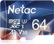 Netac 64G Micro SD Karte, UHS-I MicroSDXC Speicherkarte bis zu 90 MB/s Lesegeschwindigkeit(U3, A1, V30, 4K, C10), Memory Kart