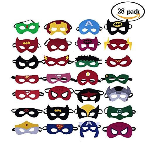 ken Super Masken Weihnachten Maske Superheld Cosplay Party Augenmasken 28 Stück Filz Masken Masken - latexfrei, perfekt für Kinder ab 3 Jahren (Superhelden Cosplay)