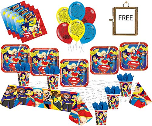 DC Super Hero Mädchen Party Supplies Kinder Geburtstag Geschirr Dekorationen DC Comics Party Pack 16 - Super Mädchen Luftballons Plate Cup Serviette ()