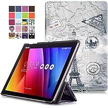 Funda ZenPad 10 Z300M / Z300C - Funda Ultra Delgado y Ligero con Cubierta de Soporte y Función de Despertador / Reposo Automático para ASUS ZenPad 10 Z300M / Z300C 10,1 Pulgadas Tablet, Mapa Torre