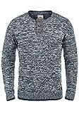 Redefined Rebel Mateo Herren Strickpullover Feinstrick Pullover mit Rundhals und Knopfleiste aus 100% Baumwolle, Größe:S, Farbe:Navy