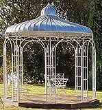 Casa Padrino Gartenpavillon Ø 325 x H. 350 cm - verschiedene Farben - Pavillon aus Schmiedeeisen mit verzinktem Blechdach, Farbe:weiß