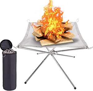 Suchdeco Portable Outdoor Fire Pit 2021 New Upgrade 22 Camping Stainless Steel Mesh Fireplace Ultra Foldable Fireplace For Patio Camping Bbq Backyard And Garden Amazon De Garten