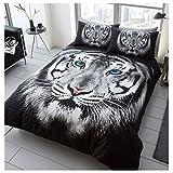 Gaveno Cavailia 3D Wildlife Tiger Face weiß Bettwäsche-Set mit Bettbezug und Kissenbezug, Polyester-, Multi, Doppel