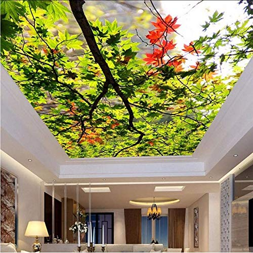 Yologg 3D Wallpaper For Wall Custom Nature Scenery Wall Covering Green Tree Leaves Ceiling Wall Mural Home Decor Backdrop Wallpaper-250X175Cm