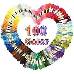 Fil à coudre 100 pièces Fil tricoter pour Point de Croix Couleurs Aléatoires Fils DMC