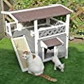 Petsfit Outdoor Cat Wooden House Lodge, Ideal Cat Condo, Weatherproof Cat Shelter, Grey Pet Wooden Maisonette Shelter by Xiamen JXD E-Commerce Co., Ltd.