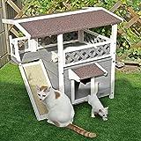 Petsfit Draußen Katzenhaus mit Terrasse, Ideale Katzenunterkunft, wetterfestes Katzenspielhaus, Grauer Haustier-Unterschlupf, 76 x 56 x 73 cm