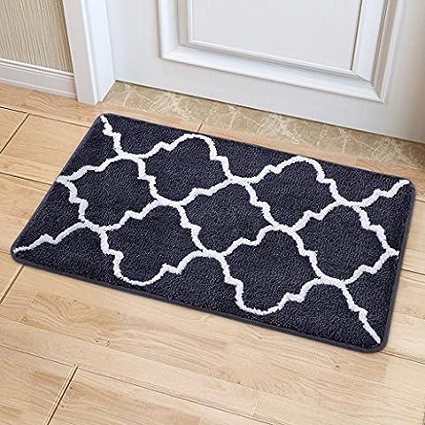 LOFAMI moquette absorbante moderne rectangulaire minimaliste / tapis, paillasson entrée de maison, cuisine, salle de bains tapis anti-dérapant, lavable en machine ( Couleur : Gris , taille : 45*65cm )