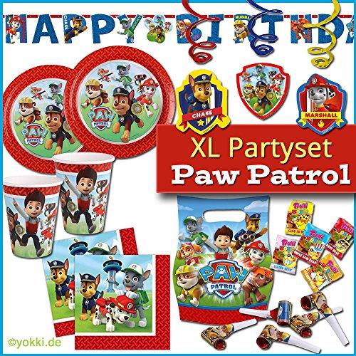 yokki der Partyshop - Paw Patrol Paw Patrol - XL Party Paket Kindergeburtstag Teller, Becher, Servietten, Party Deko, Buchstabenkette & Partygeschenke