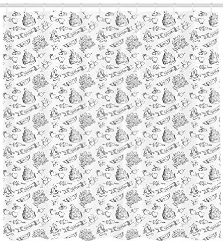 Presock Wedding Duschvorhang, Monochrome Festive Day Illustration with Ornate Cake Hearts and Floral Bouquets, Cloth Fabric Bathroom Decor Set with Hooks, 60 x 72Inch, Black White Ornate Wedding Cake
