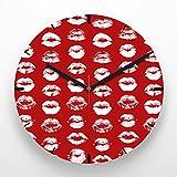 Reloj de pared 30 cm con ilustración estampado labios blancos fondo rojo