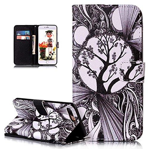 Custodia iPhone 7 Plus,iPhone 7 Plus Cover, ikasus® iPhone 7 Plus Custodia Cover [PU Leather] [Shock-Absorption] Protettiva Cover Custodia in pelle verniciata fiori di amore Modello con Super Sottile  albero in bianco e nero