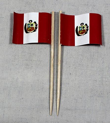 (Party-Picker Flagge Peru Papierfähnchen in Profiqualität 50 Stück 8 cm Offsetdruck Riesenauswahl aus eigener Herstellung)