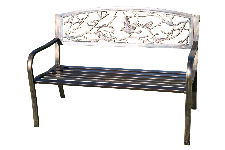 Panchine In Ghisa Da Esterno.Olive Grove Panchina Da Giardino In Metallo Con Uccelli In Ghisa
