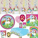 Regenbogen Einhorn Partyset mit Deko 65 Teile für 8 Personen Teller Becher Servietten Tischdecke Tüten Einladung Ballons Wirbel