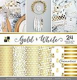 American Crafts Gold und Weiß Premium Bedruckt Karton Stack