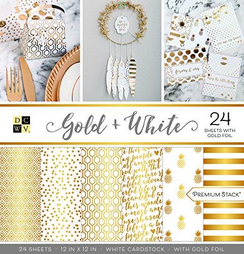 American Crafts Gold und Weiß Premium Bedruckt Karton Stack -