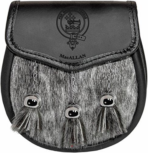 Preisvergleich Produktbild I Luv LTD MacAllan Semi Dress Sporran Fur Plain Leather Flap Scottish Clan Crest