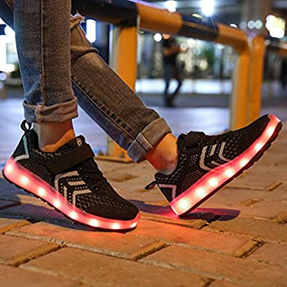 Axcer LED Light Up Trainers 7 Colors Flashing USB Charge Mesh Breathable Sport Running Shoes Gymnastic Tennis Sneakers Best Gift for Boys and Girls Birthday 2