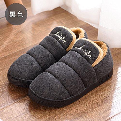 DogHaccd pantofole,Paio di pantofole di cotone alta femmina-pacchetto con elegante anti-slittamento interno e al di fuori della casa del anti-slittamento di spessore caldo cotone pantofole per uomini Nero3