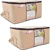 Prettykrafts Underbed Storage Bag, Storage Organizer, Blanket Cover with Side Handles (Set of 2 pcs) - Beige