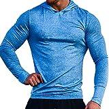 Musclealive Herren Lange Ärmel Kapuzenpullover Dehnbar Leicht Men Sweatshirts Polyester und Spandex