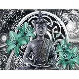 Fototapete Buddha Lilie Grün Vlies Wand Tapete Wohnzimmer Schlafzimmer Büro Flur Dekoration Wandbilder XXL Moderne Wanddeko - 100% MADE IN GERMANY - Feng Shui Runa Tapeten 9108010b