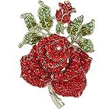 EVER FAITH® Amoureux - Cristal Autrichien Vintage Exquis Broche Rose Rouge Feuilles Plaqué Argent A00536-6
