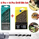 #10: Professional Tool- Drill Bit Set 13 Pieces For Wood, Malleable Iron, Aluminium, Plastic & Masonry Drill Bit Set 5 Pcs for Concrete and Brick Wall Drilling | drill bit set for metal |drill bit set hex shank | drill bit set and drill | Power tool Combos |