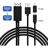 Micro USB to HDMI Cable Adapter, MHL to HDMI Converter with Video Audio Output for Android Samsung Galaxy S3 S4 S5 Note 2 Tab3 for HDTV(5pin-11pin) (Noir)