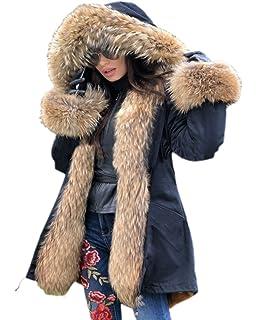 Roiii Luxury Hooded Winter Faux Fur Parka Outwear Plus Size Coat 8-14-20