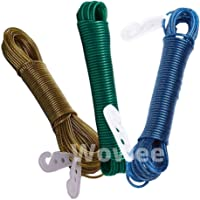 Wowee Hanging Rope with Adjustable - 20 Meter PVC Coated Steel Anti-Rust Wire Rope Washing Line Clothesline with 2…