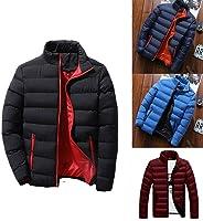 Pudrew Abrigo cálido de Manga Larga con Cuello Alto y Cremallera para Hombre Ropa de Invierno con Bolsillos Chaquetas