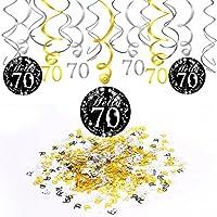 Konsait 70 años cumpleaños Decoracion, Adornos de espirales de 70 Fiesta de cumpleaños Colgando, Negro y Dorado (15 Unidades), Feliz cumpleaños y 70 mesas de Confeti (1.05 oz), 70 años de Fiesta