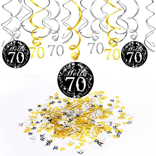70. Geburtstag Dekoration, Konsait 70. Geburtstags Spirale Deko schwarz und Gold (15 Grafen), HAPPY BIRTHDAY & Zahl 70 Konfetti (1.05 oz), 70 Jahre alt Party Dekorationen