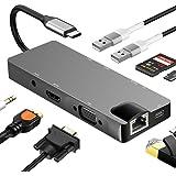 Hub USB C 9 en 1 Adaptateur USB C avec PD 60W Port HDMI 4K, 2 Ports USB 3.0,Ethernet RJ45 Gigabit,1080P VGA, Audio AUX 3,5 mm, Lecteur de Cartes SD/TFCompatible avec MacBook et Portables Windows USB C