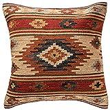 Fair Trade Kelim Kissen handgefertigt auf gewebt mit 80/20Wolle/Baumwolle und natürliche Farbstoffe Kashi (45x 45cm), braun, 60 x 60 cm