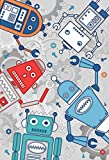 """Riva Paoletti Kids Robot Wall Art Mural - Grey - Adaptable Wall Paste Application - Paste Included - 158 x 232cm (62"""" x 91"""" inches) - Designed in the UK"""