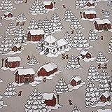 ARVIDSSON Stoff Baumwollstoff Taupe weiß rot Wichtel