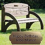 Geschenke 24 Gravierte Geburtstagsbank mit Lehne - personalisierte Gartenbank für Männer und Frauen - ein schönes Geschenk zum Geburtstag (Nussbaum)