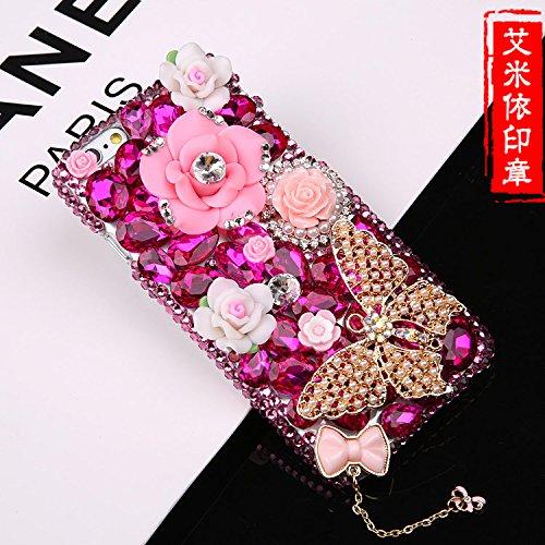 Coque iPhone 5/5S , iNenk® Luxe plein de diamants de la mode papillon Téléphone Shell Pink Flower protection Soft Sleeve Housse en TPU Case Fleur