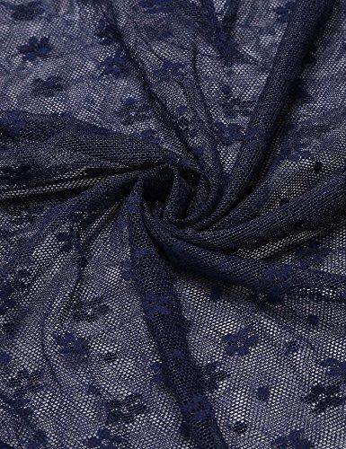 Stringbody, SummerRio Damen V-Ausschnitt Ärmellos Blumenspitze Transparent Bodysuit Body Dessous Reizwäsche Dreifarben S-XXL Marineblau