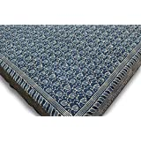 IndieHome Cotton Natural Dye Dabu 103 x 113 Inches Block Print Rajasthani Double Bed Covers-King; Indigo
