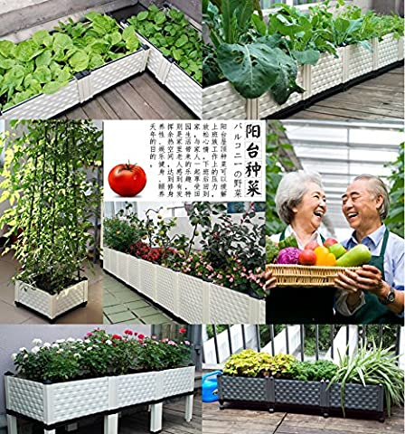 Inchant Updated Creative Design High quality Plastic Vegetable Raised Garden Bed Outdoor Rooftop Balcony Vegetable Planter Flower Planting box Backyard Patio Flowerpot Planter With Water Storage Plate and Universal Wheels for Easily Move - Make Your Balcony More Active