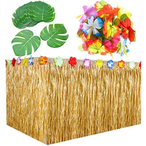 (Lvcky 9Füße Hawaiian Gras Tisch Rock Dekorationen mit 30Stücke 17,8cm Tropischen Blätter und 30Stück Hibiskus Blumen für Party Party Supplies)